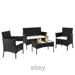Black Rattan Outdoor Garden Furniture Set 4 Piece Chairs Sofa Table Patio Set Royaume-uni