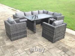 Bras Droit 8 Sièges Meubles De Chaise De Table De Sofa De Rotin Réglés Meubles Extérieurs De Jardin