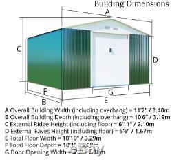 Brown De Jardin En Métal 11 X 10 Shed Apex Toit Entreposage Extérieur En Acier Double Porte Nouveau