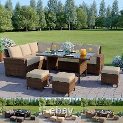 Brown Rattan Garden Furniture 9 Seater Corner Sofa Set Table À Manger Couverture Gratuite