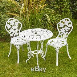 Cadre Extérieur De Bistrot Blanc Avec Table En Métal Et 2 Chaises En Métal