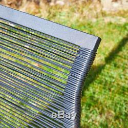 Cadre Métal Noir Extérieur Corde En Osier Canapé Table Basse De Jardin Chaises Ensemble De Patio