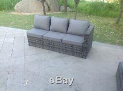 Canapé D'angle En Rotin 3 Places Table Basse Meubles De Jardin En Plein Air MIX Grey