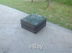 Canapé D'angle En Rotin Gris Mélangé Table Basse Mobilier De Jardin Extérieur