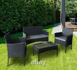 Canapé De Jardin Extérieur De 4pcs Rattan Table Et Chaises (roger Black)