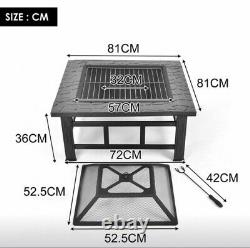 Carré Fire Pit Bbq Grill Barbecue Fire Pit Patio Heater Brazier Stove