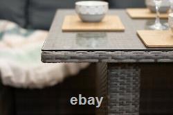 Casa' Rattan Grey Corner Canapé Extérieur Meubles De Jardin Ensemble De Table À Manger