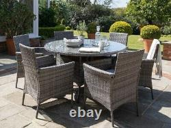 Casa Rattan' Grey Round 6 Seater Outdoor Garden Furniture Dining Table Set