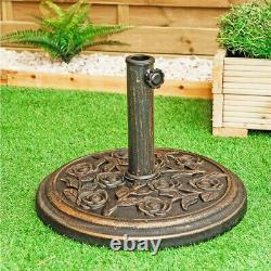 Cast Iron Effect Parasol Base Heavy Duty Metal Garden Banana Bronze Patio Stand