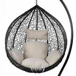 Chaise À Balançoire De Jardin Avec Chaise À Oeuf Suspendu Cushion Rattan Patio Intérieur Extérieur
