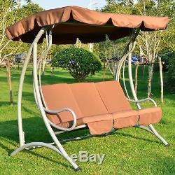 Chaise De Jardin Avec Balançoire En Métal, Hamac Avec Balançoire, Siège Rembourré 3 Places