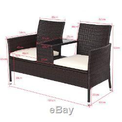 Chaise De Rotin Double Siège Coussin Table À Thé Moyen 2 Sièges Ensemble Meubles Jardin