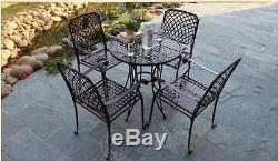 Chaise De Table Extérieure Montage Patio Marbre Métal Jardin Balcon Café Noir Carré
