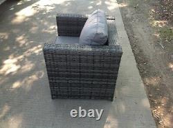Chaise Simple Canapé En Rotin Meubles De Patio Jardin Extérieur Divan Avec Coussin