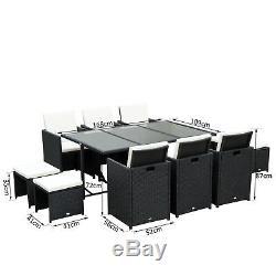 Chaises De Table En Osier De Patio De Patio En Osier De Meubles De Jardin Réglés De Rotin 11pc