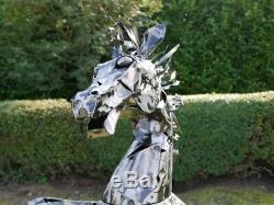 Cheval D'élevage Noir Argent 125 CM Accueil / Jardin Art Statue Ornement Sculpture