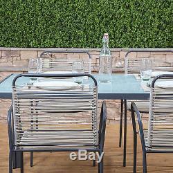 Cosmopolitan Steel & Poly Weave Meubles De Jardin Table Et Chaises Set