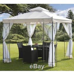 Crème 2.5m Jardin Gazebo Polenza Partie Tente Patio Ombre En Plein Air Sun Canopy Filets