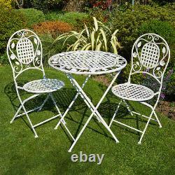Crème Bistro Set Extérieur Patio Garden Meubles Table Et 2 Chaises Cadre En Métal