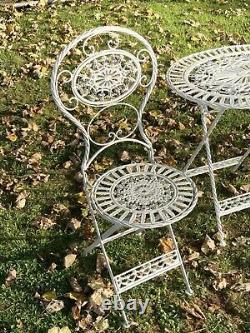 Crème Cast & Fer Forgé Oval Garden Set 2 Chaises Pliantes & Table