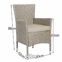 Deuba Poly Rotin De Table Chaises Set 4 + 1 Meuble De Jardin Beige Gris