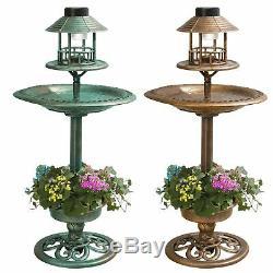 Effet De Cuivre Bain Oiseau Station De Table Pour L'alimentation Des Oiseaux Lumière Solaire Jardin Extérieur