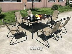 Ensemble À Manger Extérieur 7pcs Table De Jardin Empilant Chaises Rattan Garden Dining Set
