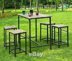 Ensemble De Bar Industriel De Jardin Table Haute 4 Tabourets Pub Dinant Le Mobilier Extérieur
