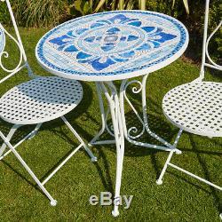 Ensemble De Bistrot En Mosaïque Bleue Blanche Avec Table De Jardin Et Patio À 2 Chaises En Métal