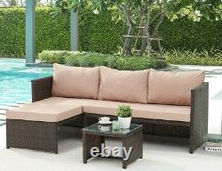 Ensemble De Canapés Pour Meubles De Jardin Rattan Grey Brown Patio Outdoor Corner Lounge L-shape