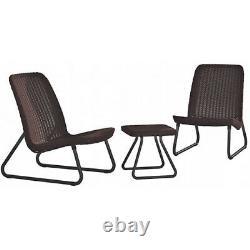 Ensemble De Meubles De Jardin 3pcs Chaises Table De Café Patio Balcon Extérieur Moderne Solide