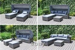 Ensemble De Meubles De Jardin De Rattan Canapé Day Bed Canopy Louncer Wicker Garantie De 5 Ans