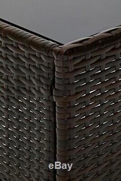 Ensemble De Meubles De Jardin En Rotin Extérieur 4 Pièces Chaises Canapé Table Patio Madrid Marron
