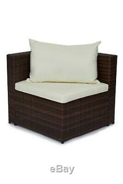 Ensemble De Meubles De Jardin En Rotin Extérieur En Polyester Brun Miami Lounge Lounge Patio Nouveau