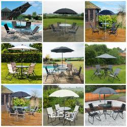 Ensemble De Meubles De Jardin Patio 4/6 Places Ensemble De Table Et Chaises En Verre Parasol Uk