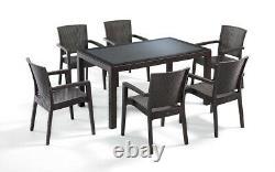 Ensemble De Meubles De Jardin Patio Table Extérieure Et Chaises 6 Seater Rattan Style Glasstop