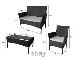 Ensemble De Meubles De Jardin Rattan 4 Pièces Chaises Canapé Table Extérieure Patio Set Noir