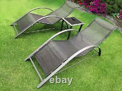 Ensemble De Salon De Soleil Ergonomique 3pc Noir + Chaise De Table Latérale Meubles De Jardin D'extérieur
