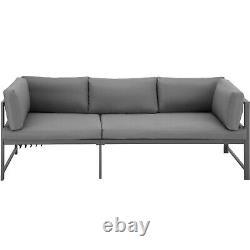 Ensemble De Sièges De Jardin En Verre De Table Top Aluminium Meubles Salon Sofa Outdoor Grey