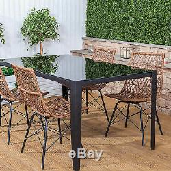 Ensemble De Table À Manger Et Chaises Pour Meubles De Jardin Rectangulaires Polynésiens