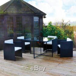 Ensemble De Table De Patio Et De Chaise De Patio De Mobilier De Jardin À Effet De Rotin Noir, Cube 4 Places