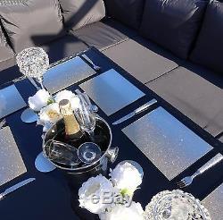 Ensemble De Table De Salle À Manger De Sofa De Jardin En Rotin De Coin Noir Brun Gris Free Cover