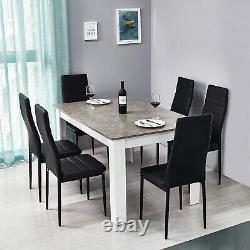 Ensemble De Table En Bois Chêne Avec 6 Chaises En Cuir Blanc Faux Meubles De Cuisine