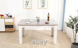 Ensemble De Table En Bois Gris Et Blanc Avec 6 Faux Fauteuils En Cuir Meubles Modernes