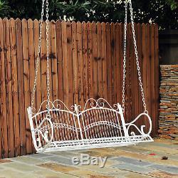 Extérieur Jardin Solide En Métal 2 Siège Balancelle Love Seat Hanging Hamac Blanc