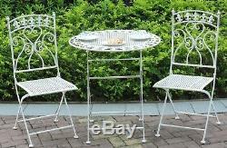 Extérieur Meubles De Jardin En Métal Bistro Ensemble De Patio Table Deux Chaises Antique White