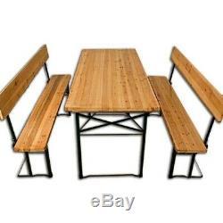 Extérieur Pliante Table Tréteau Set Banc Mobilier De Jardin En Bois Dossier