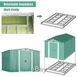 Extra Large En Plein Air En Acier Metal Jardin Outil Maison Hangar De Stockage + Fondation 10x8ft