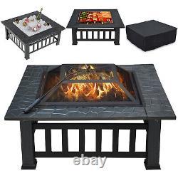 Foyer Extérieur Bbq Firepit Brazier Garden Square Table Stove Patio Heater 81cm