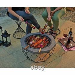 Foyer Extérieur Firepit Brazier Garden Table Stove Patio Heater Mesh Poker Uk